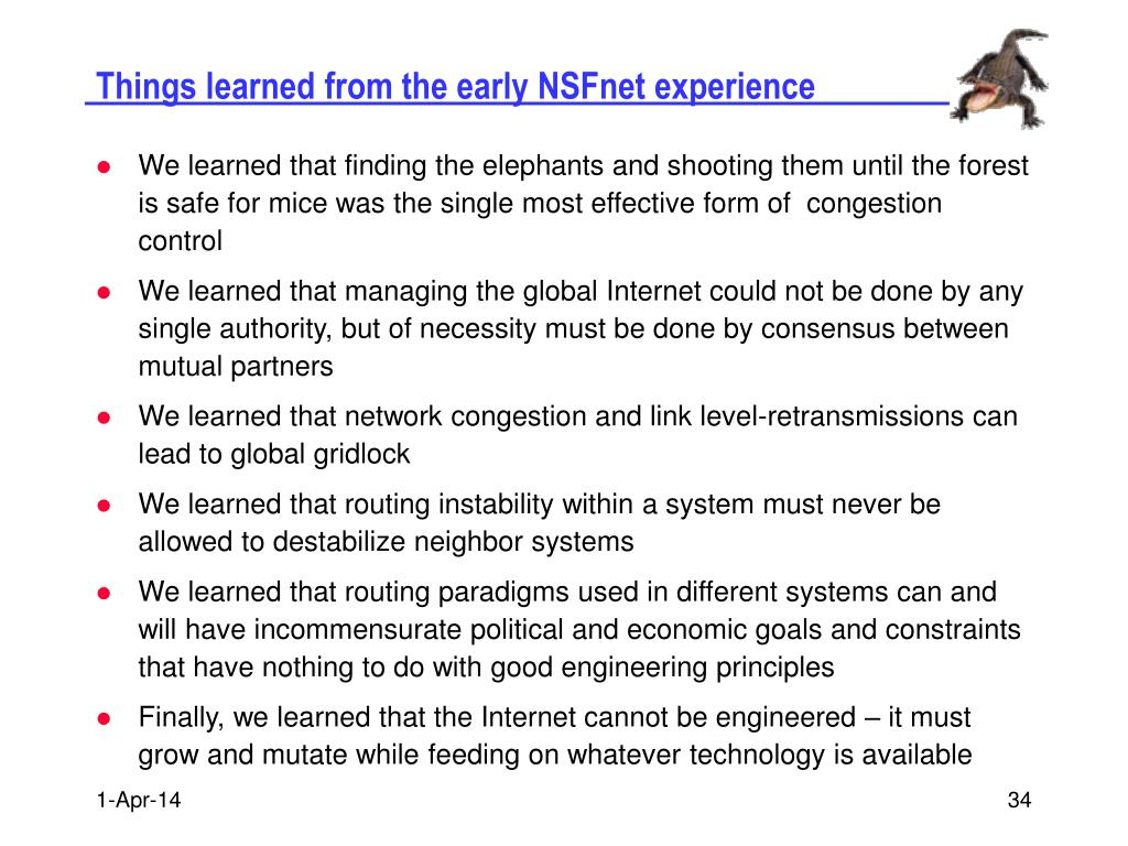 Things learned from the early NSFnet experience