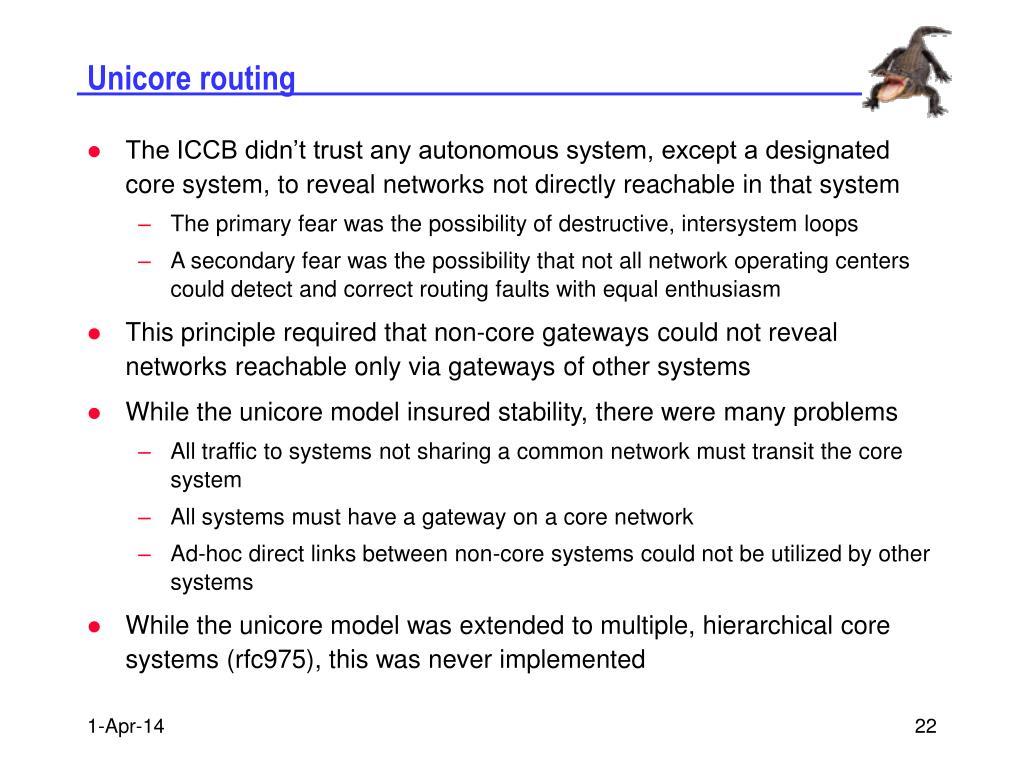 Unicore routing