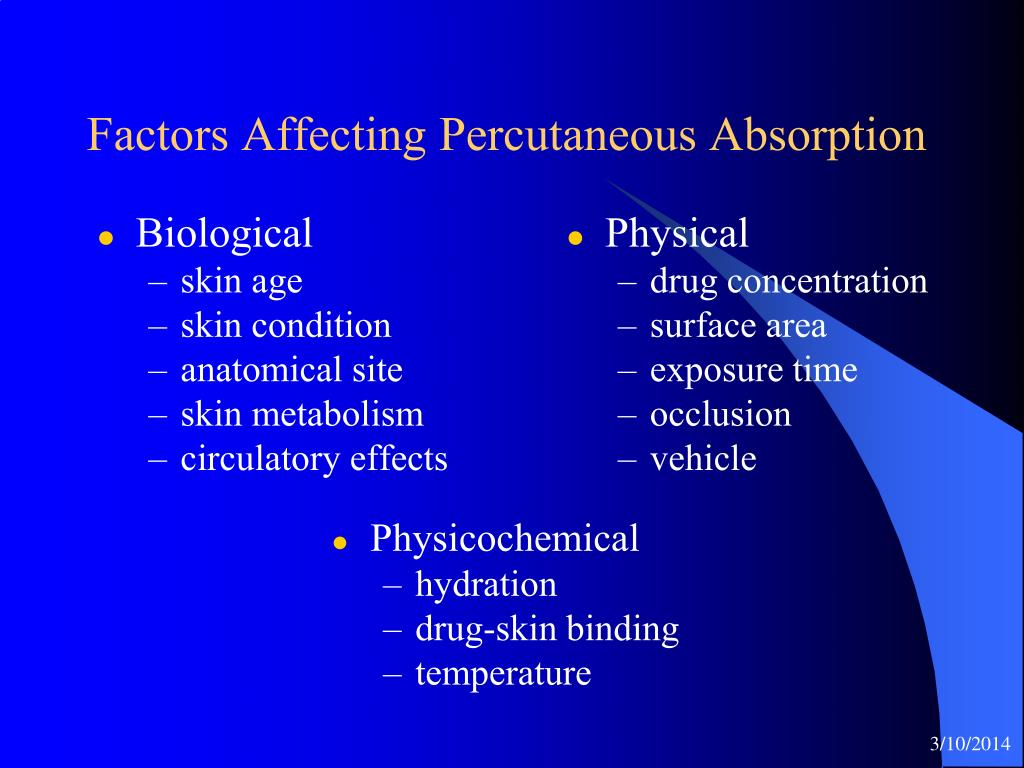 Factors Affecting Percutaneous Absorption