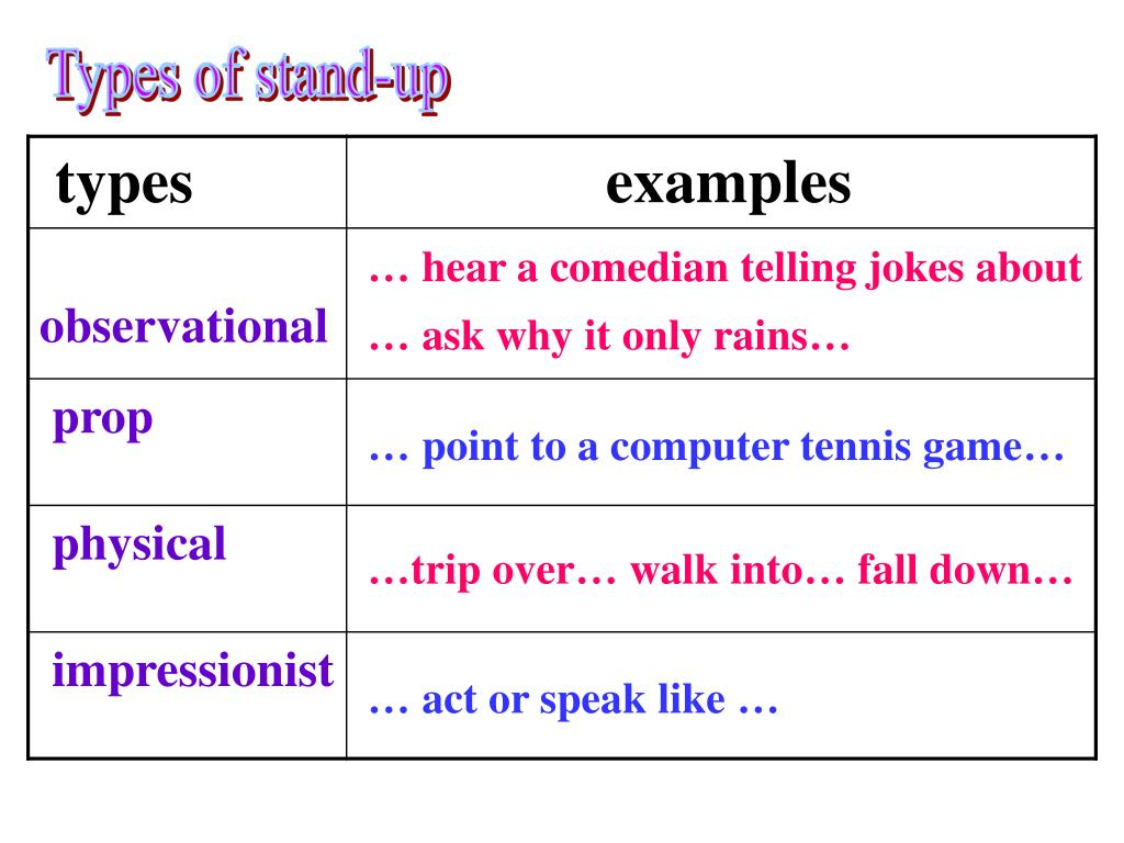 Types of stand-up