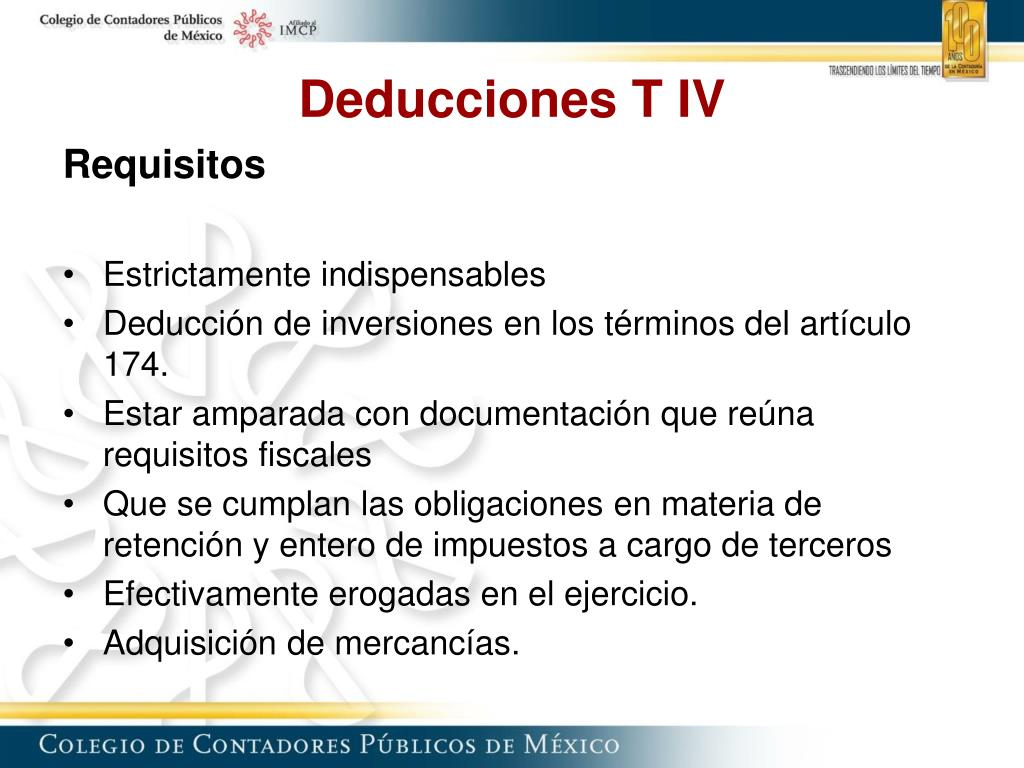 Deducciones T IV