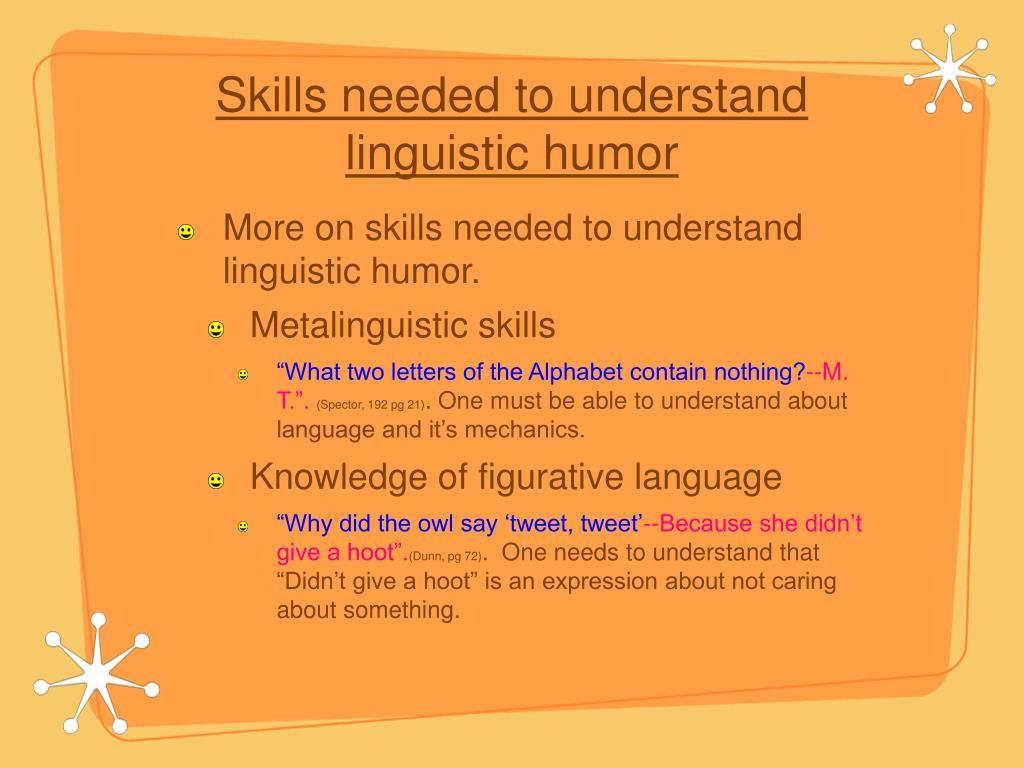 Skills needed to understand linguistic humor