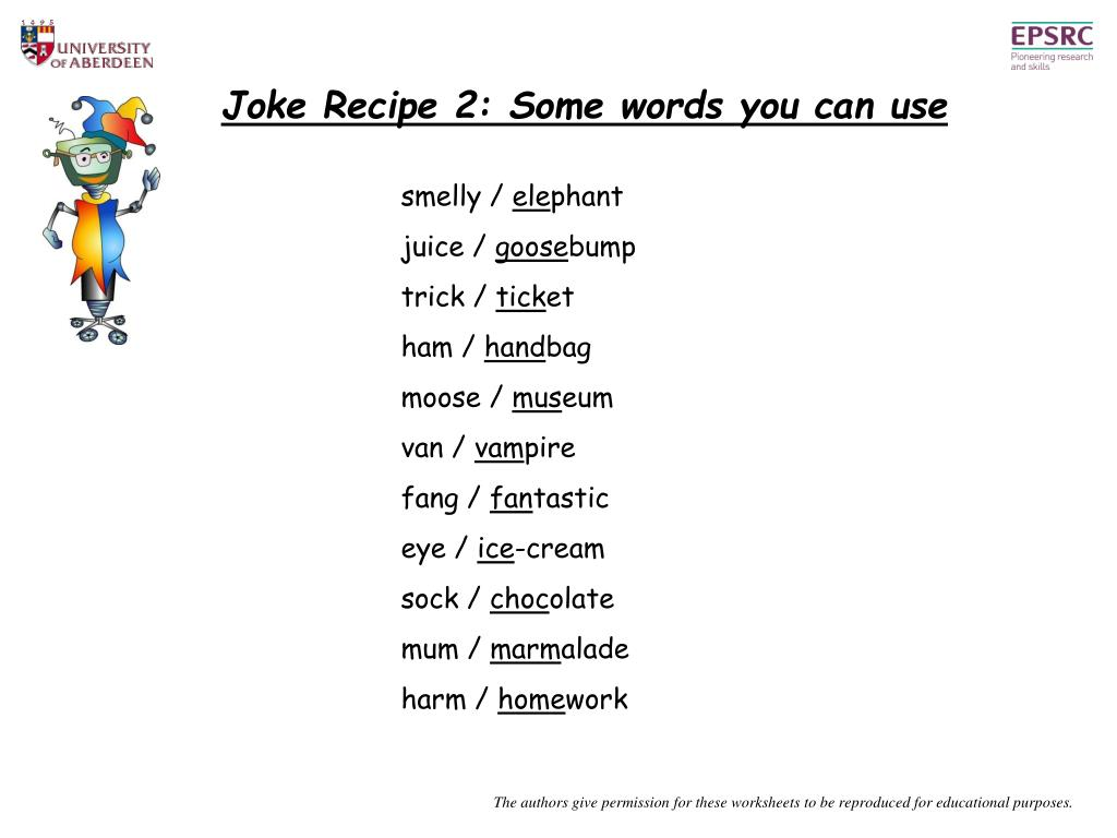Joke Recipe 2: Some words you can use