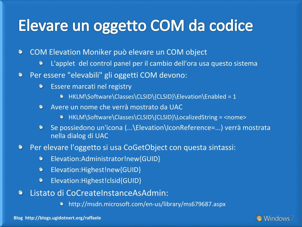 Elevare un oggetto COM da codice