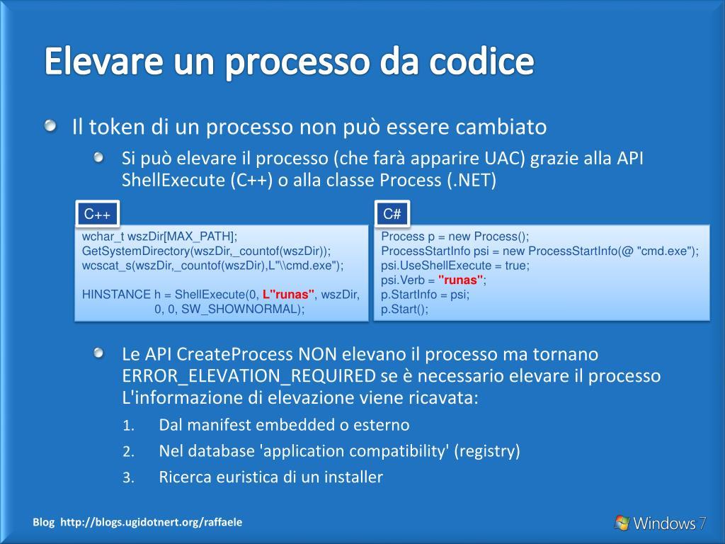 Elevare un processo da codice