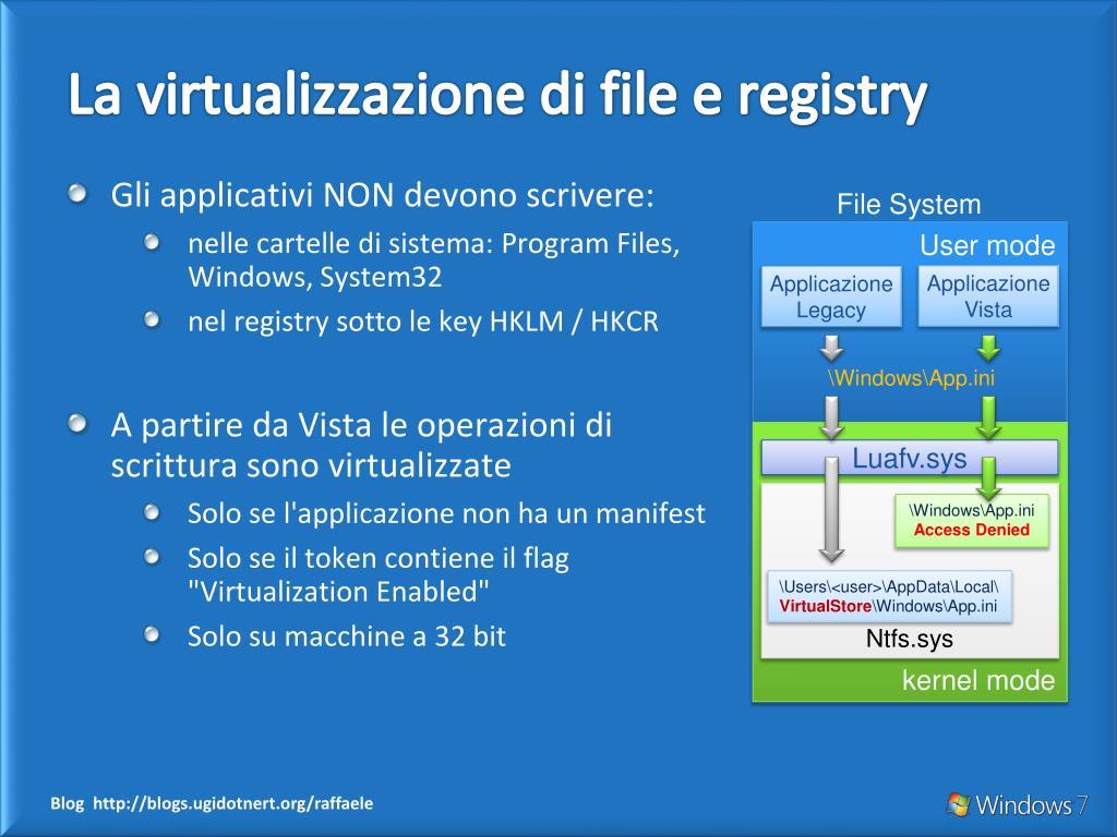 La virtualizzazione di file e registry