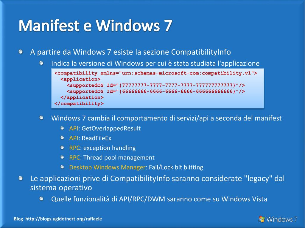 Manifest e Windows 7