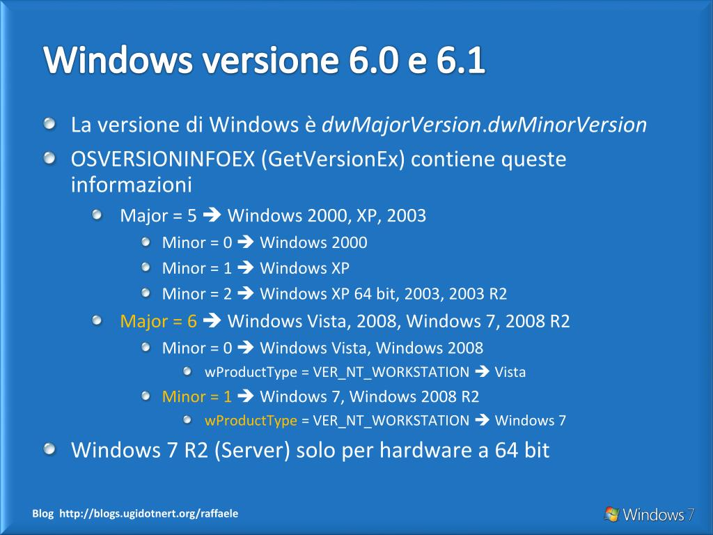 Windows versione 6.0 e 6.1
