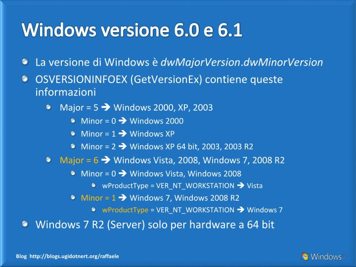 Windows versione 6 0 e 6 1