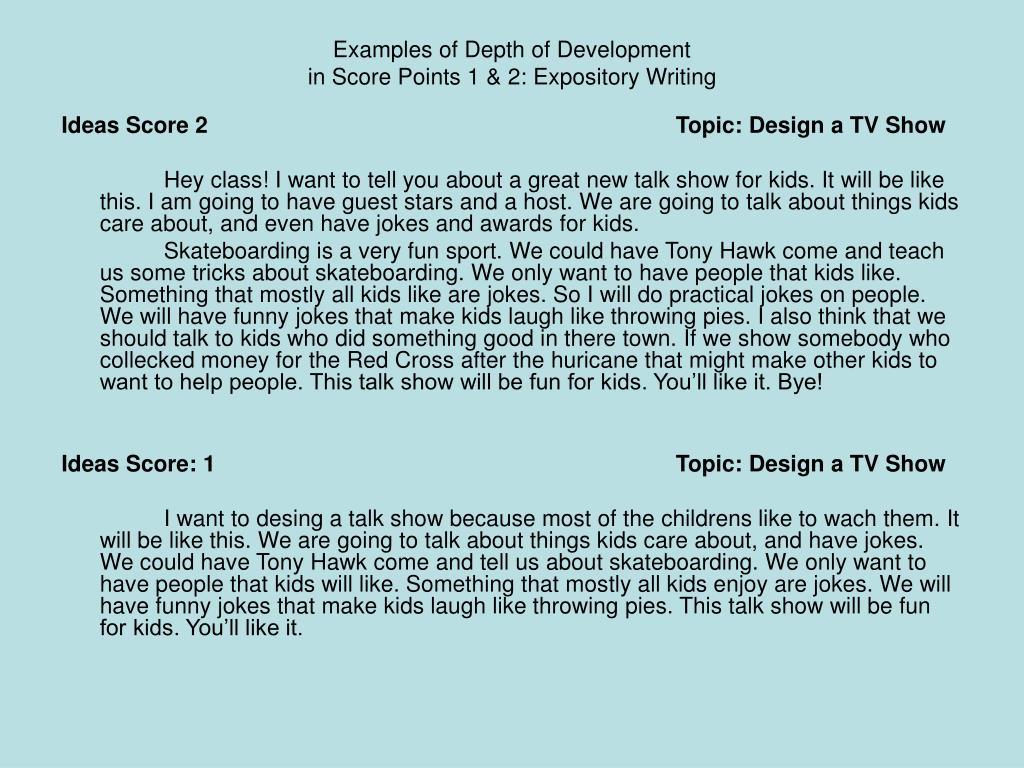 Examples of Depth of Development
