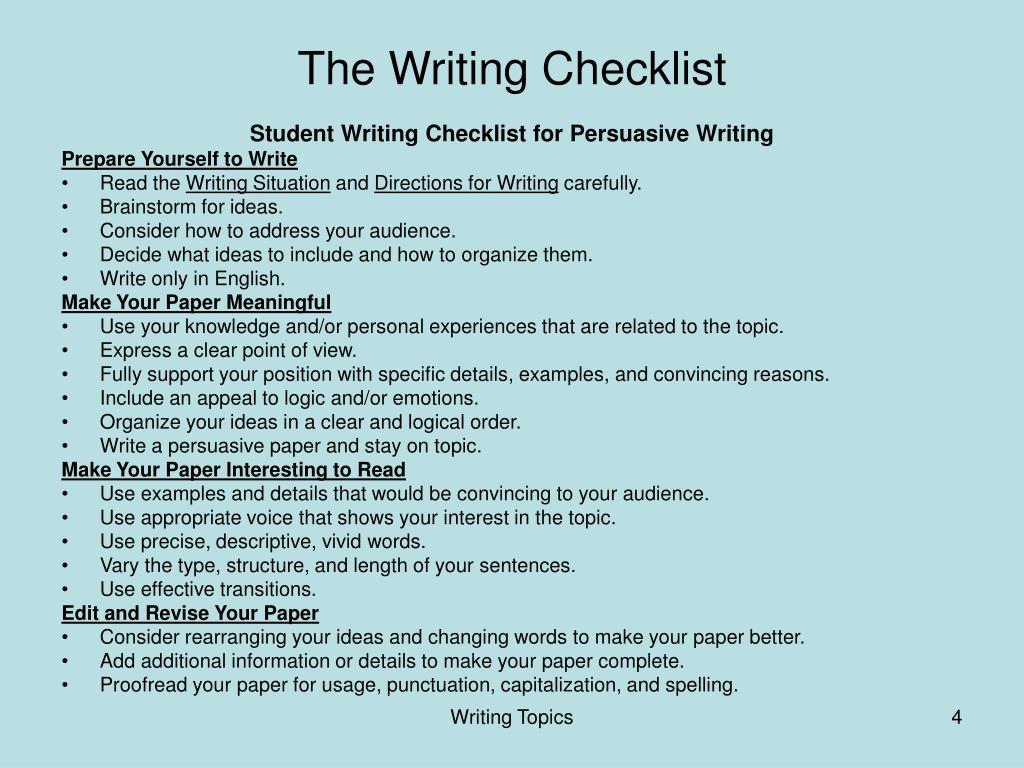 The Writing Checklist