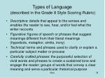 types of language described in the grade 8 style scoring rubric