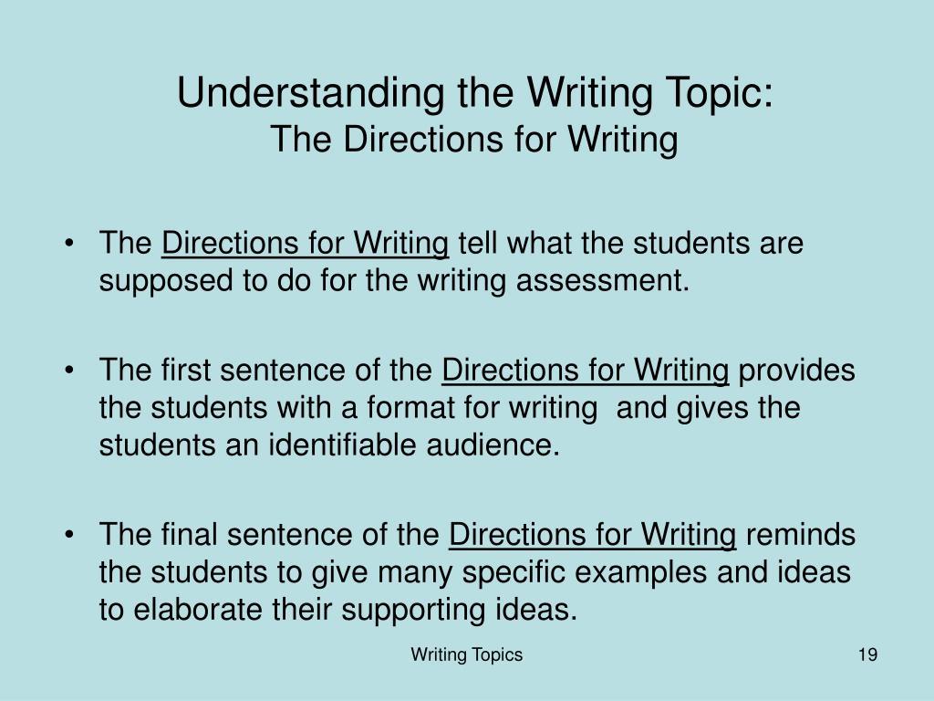 Understanding the Writing Topic: