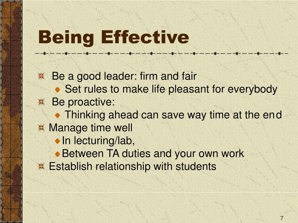 Being Effective