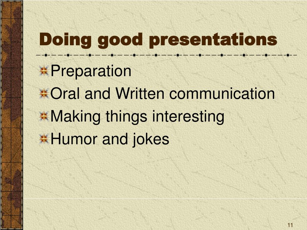 Doing good presentations