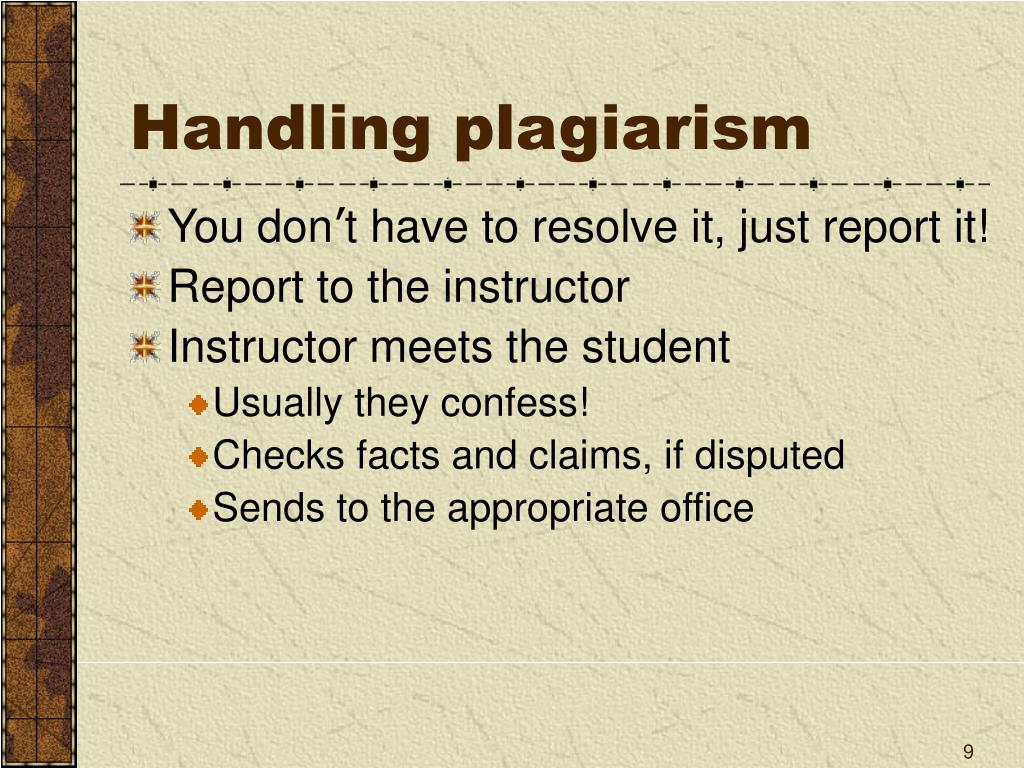 Handling plagiarism
