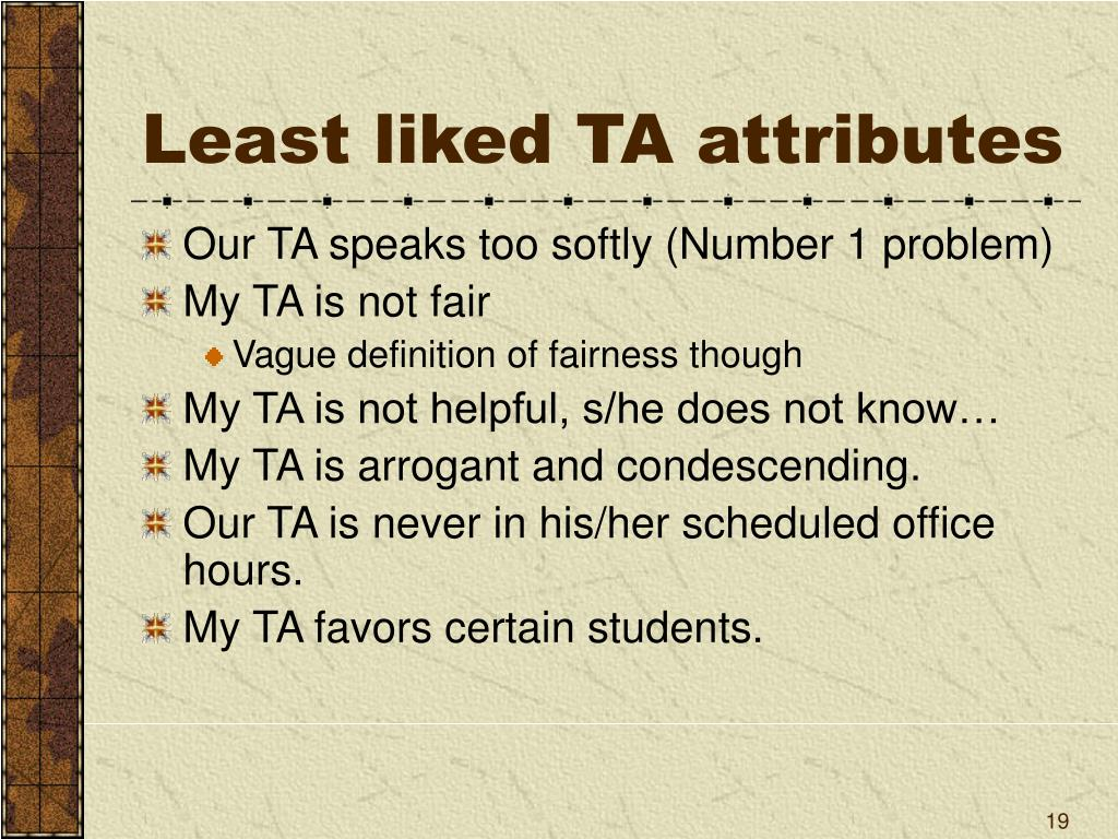 Least liked TA attributes