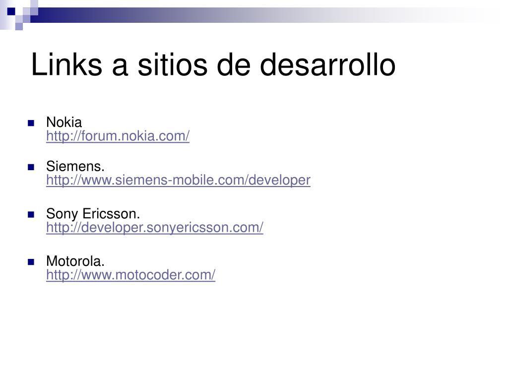 Links a sitios de desarrollo