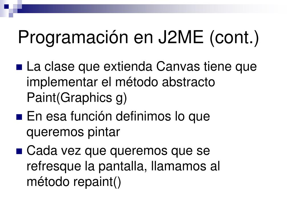 Programación en J2ME (cont.)