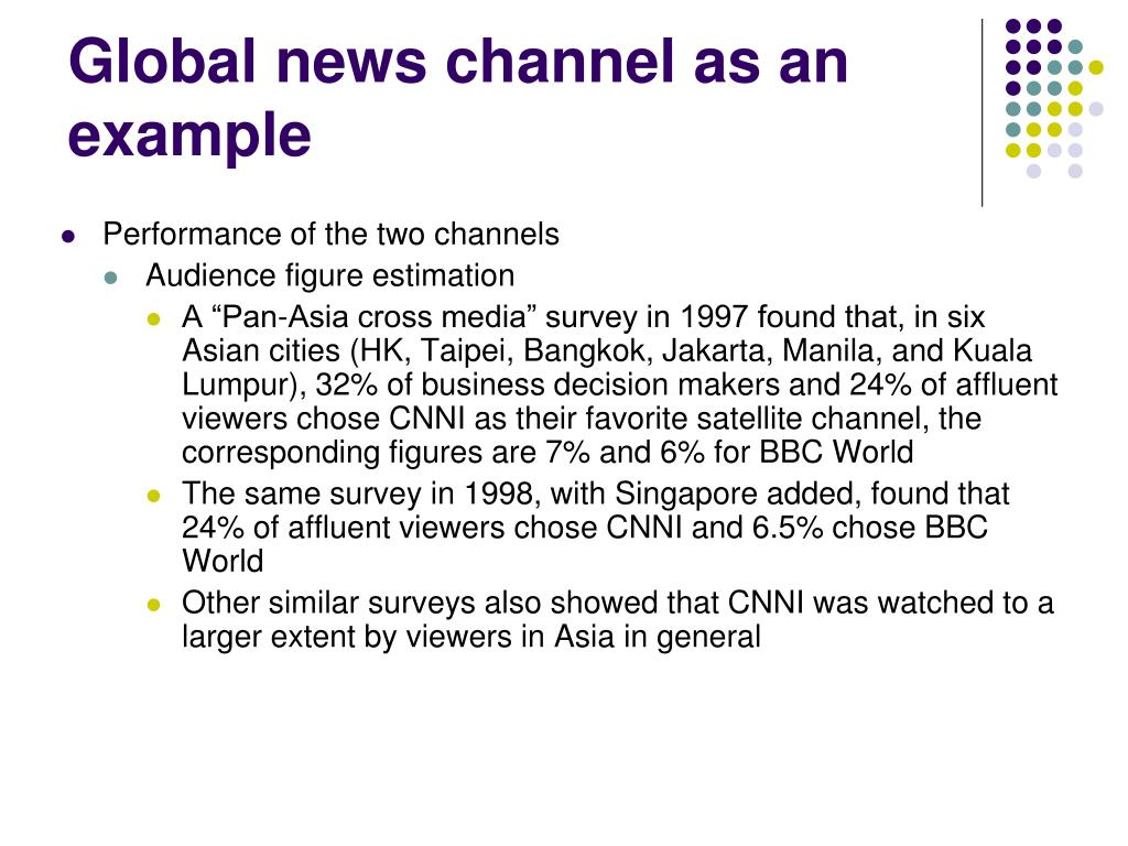 Global news channel as an example