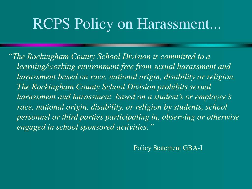 RCPS Policy on Harassment...