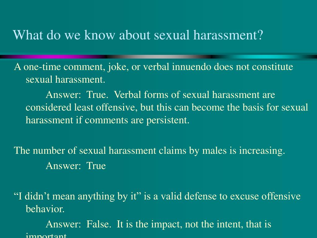 What do we know about sexual harassment?