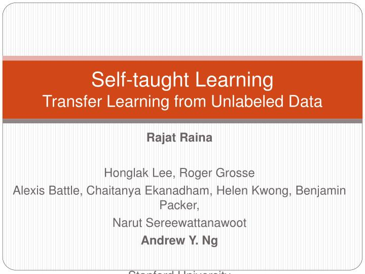 Self taught learning transfer learning from unlabeled data