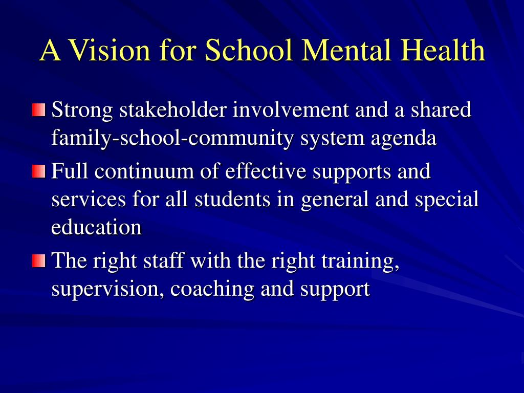 A Vision for School Mental Health