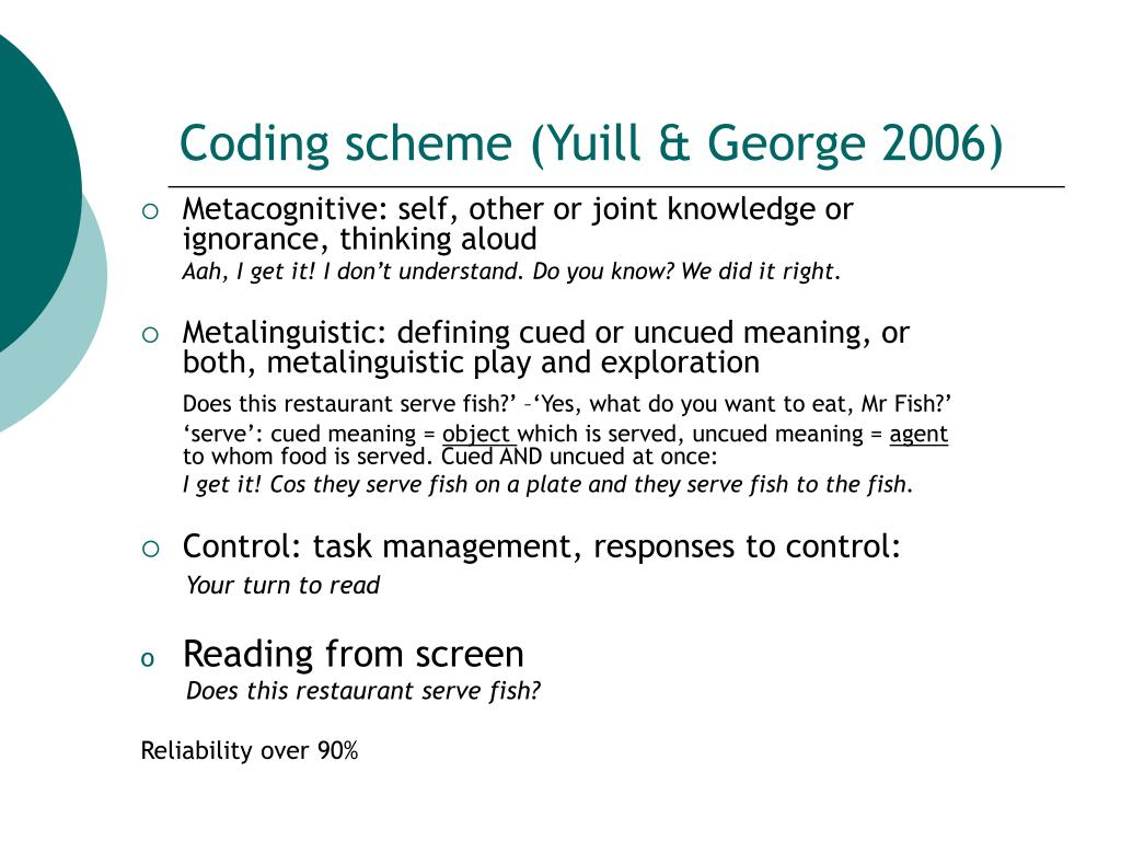 Coding scheme (Yuill & George 2006)