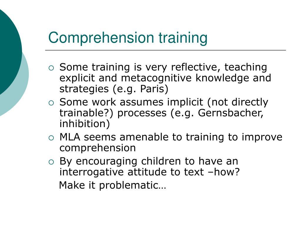 Comprehension training