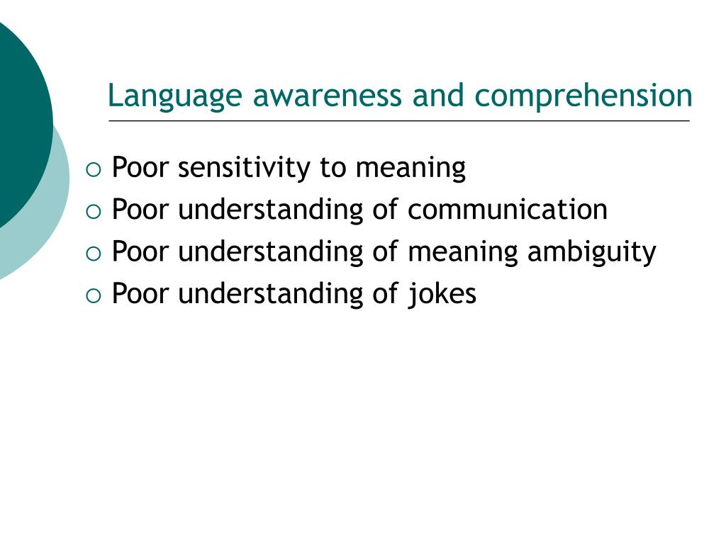 Language awareness and comprehension