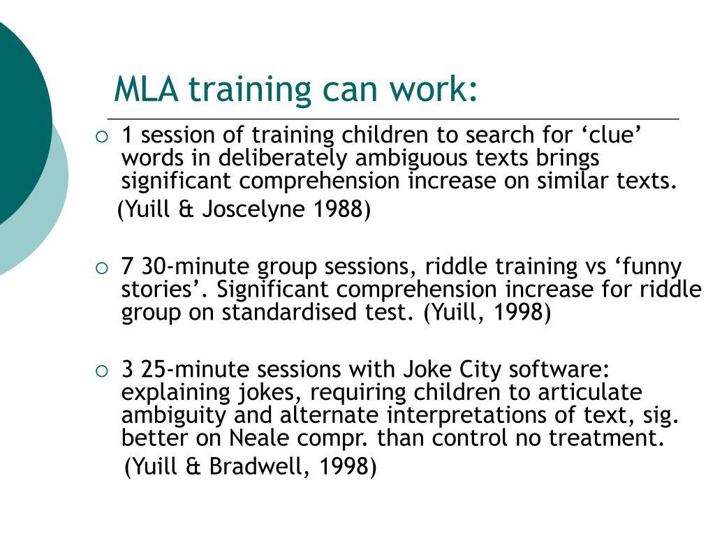 MLA training can work: