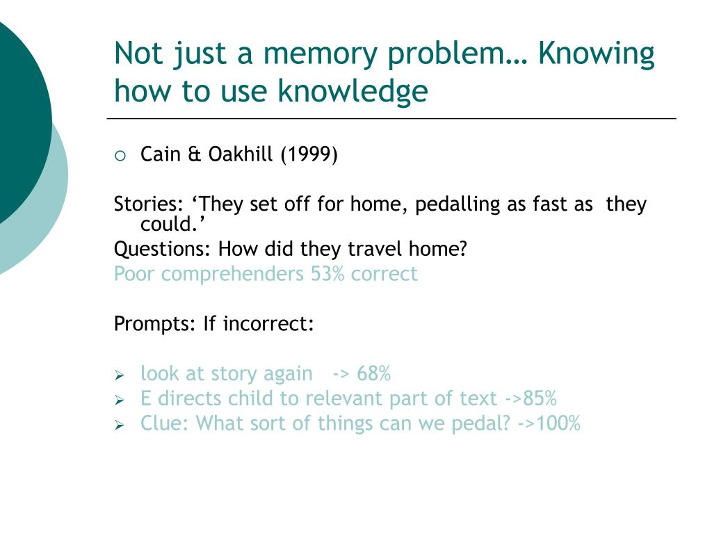 Not just a memory problem… Knowing how to use knowledge