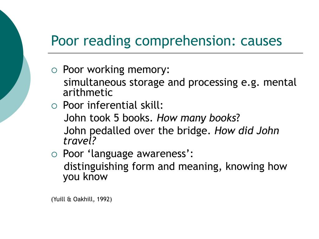 Poor reading comprehension: causes