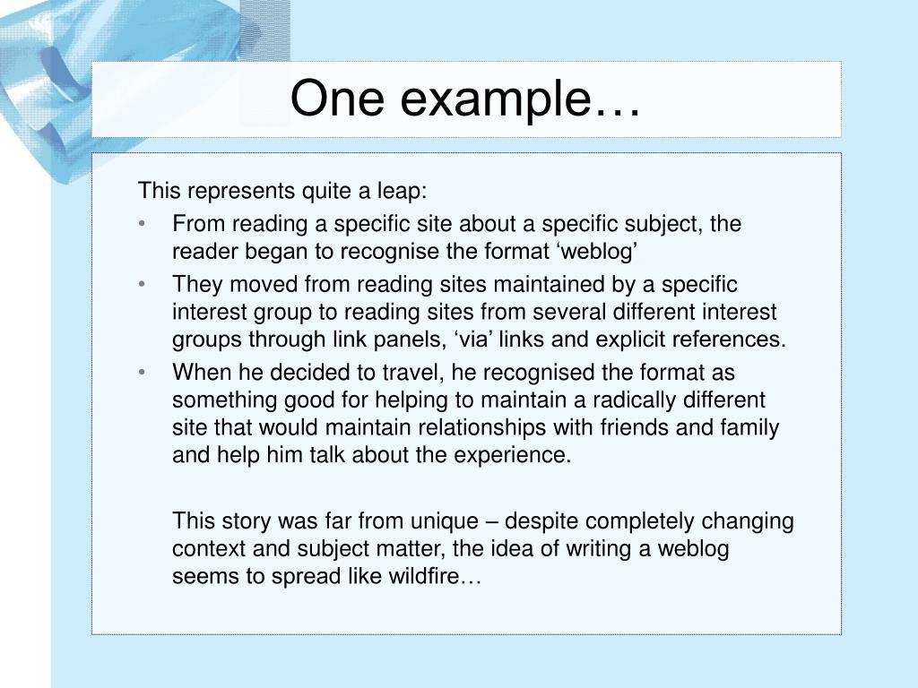 One example…