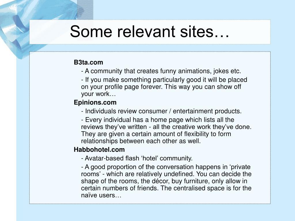 Some relevant sites…
