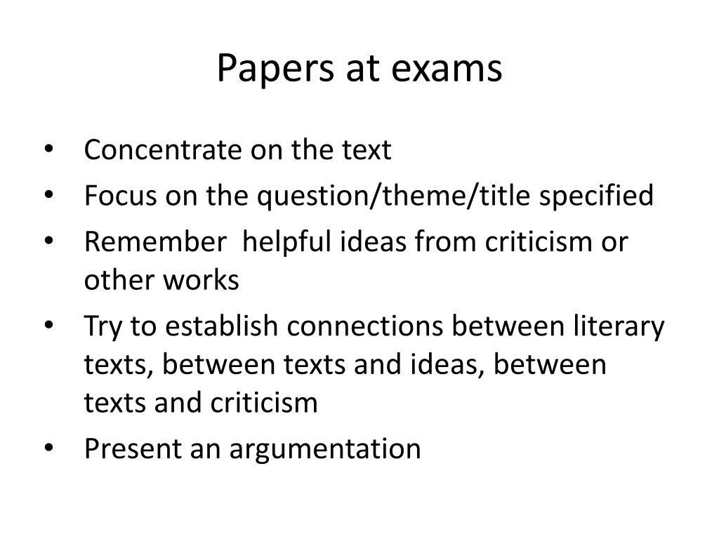Papers at exams
