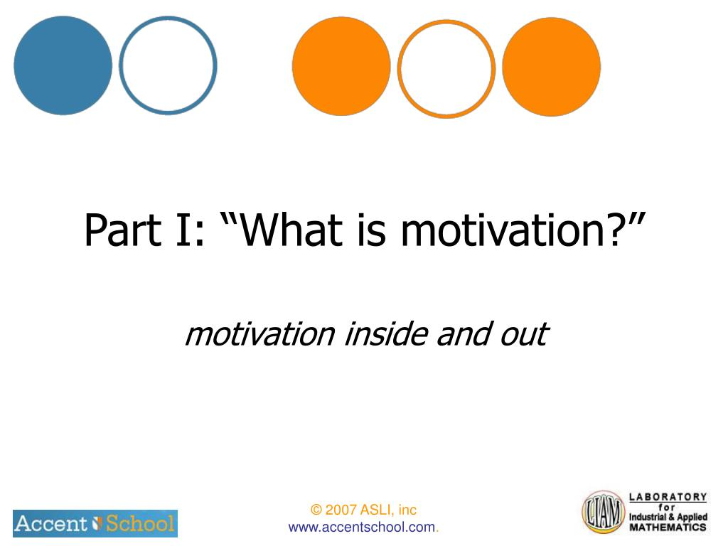 "Part I: ""What is motivation?"""