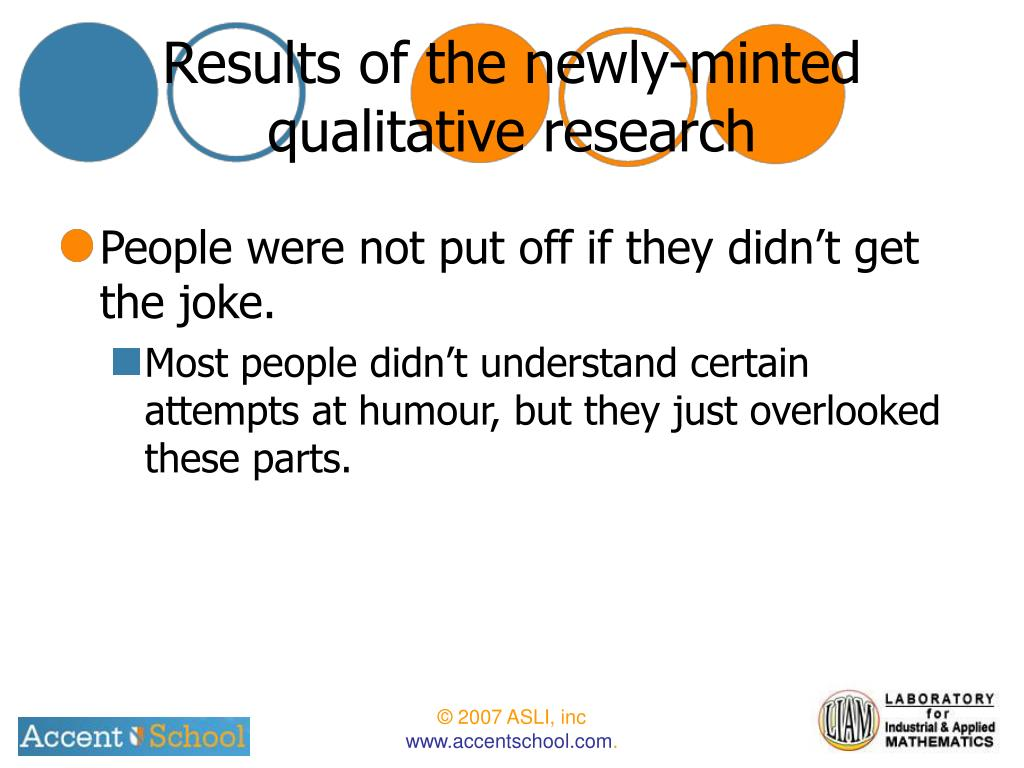 Results of the newly-minted qualitative research