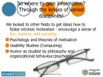 so where to gain information through the lenses of varied disciplines