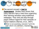 stop two usability and computing studies cont d