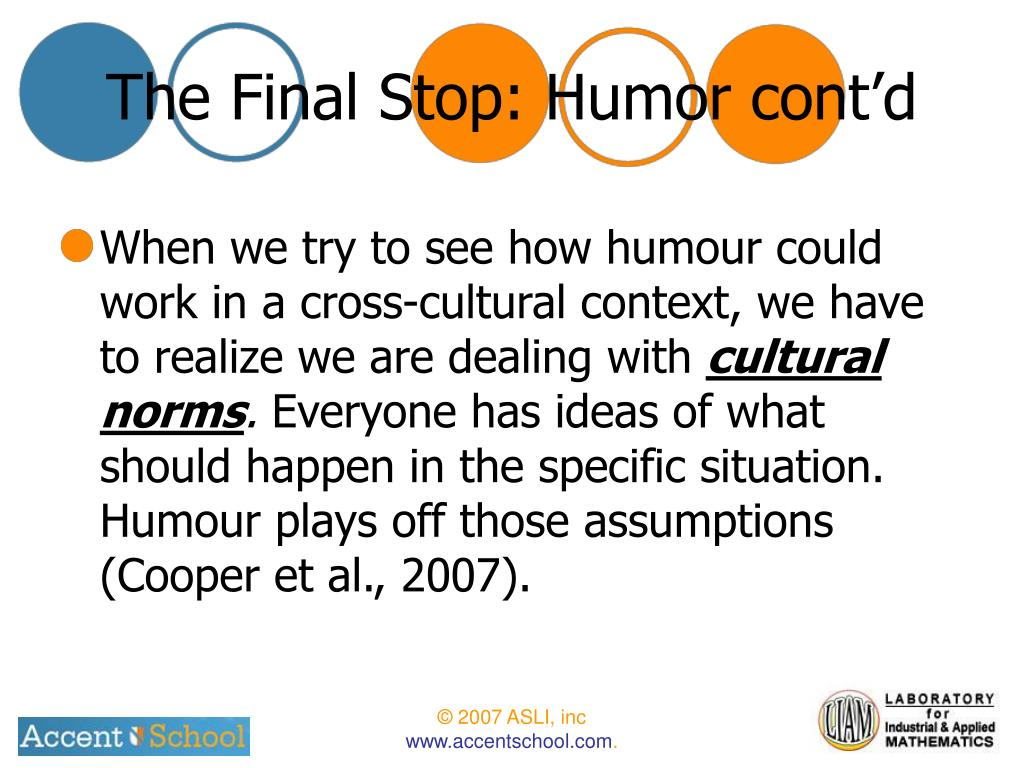 The Final Stop: Humor cont'd