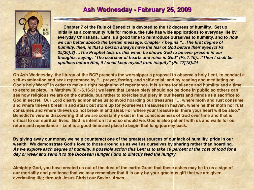 Ash Wednesday - February 25, 2009
