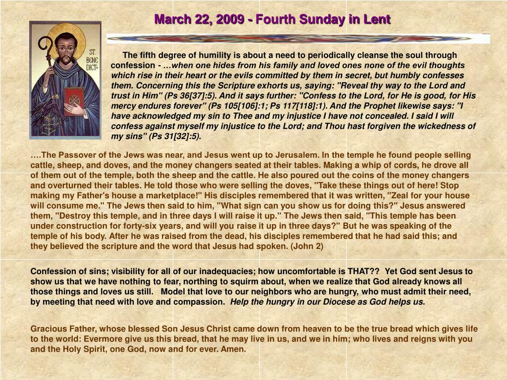March 22, 2009 - Fourth Sunday in Lent