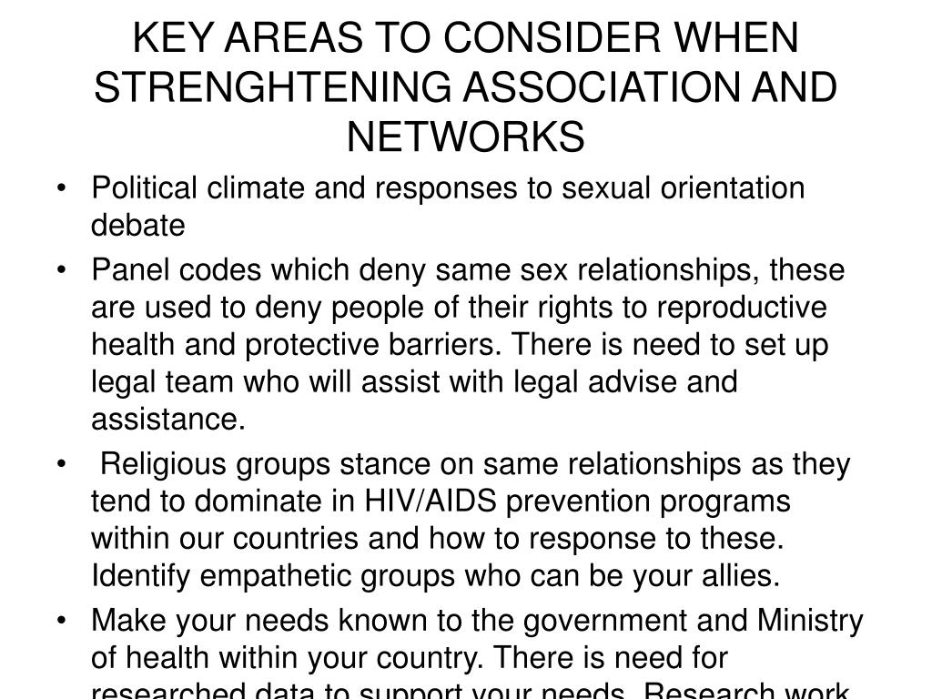 KEY AREAS TO CONSIDER WHEN STRENGHTENING ASSOCIATION AND NETWORKS