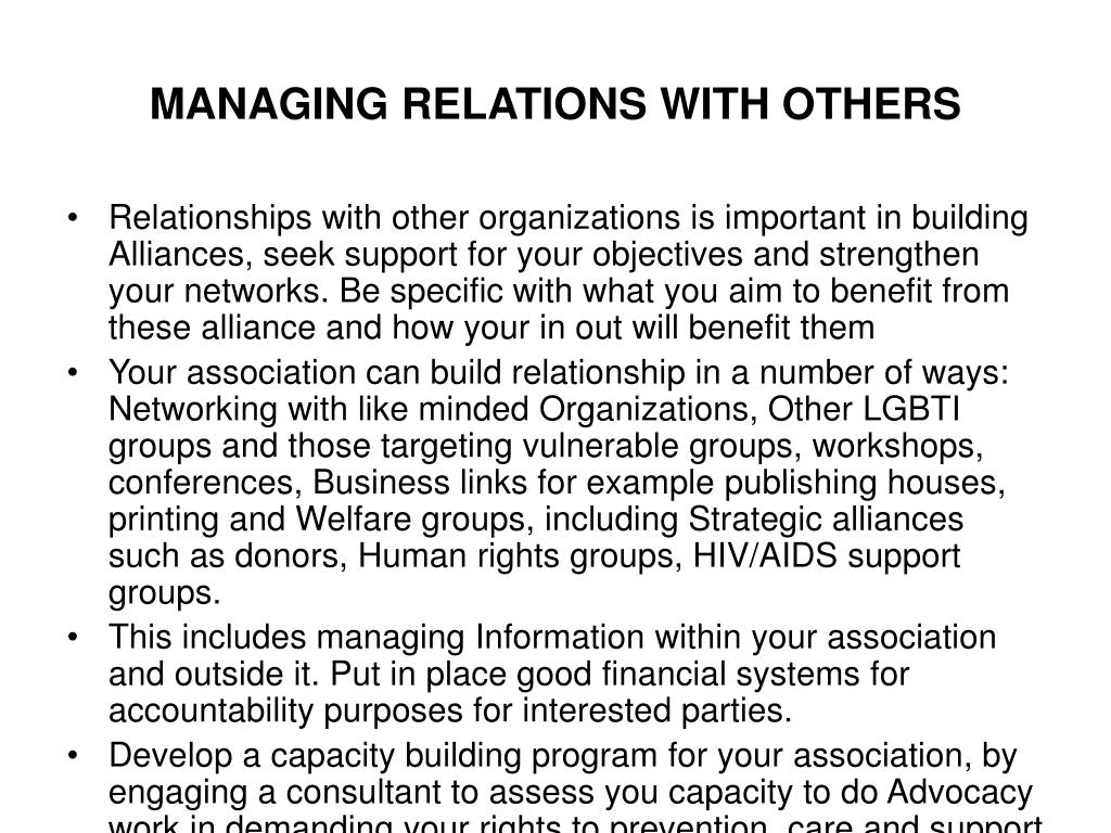 MANAGING RELATIONS WITH OTHERS