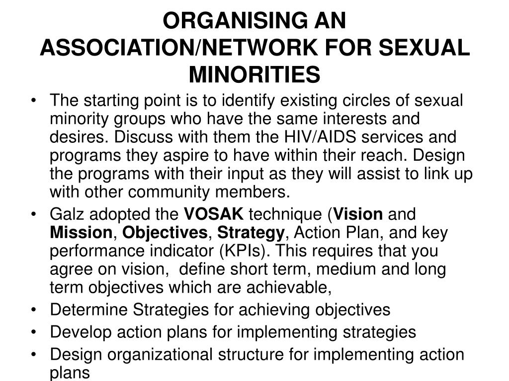 ORGANISING AN ASSOCIATION/NETWORK FOR SEXUAL MINORITIES