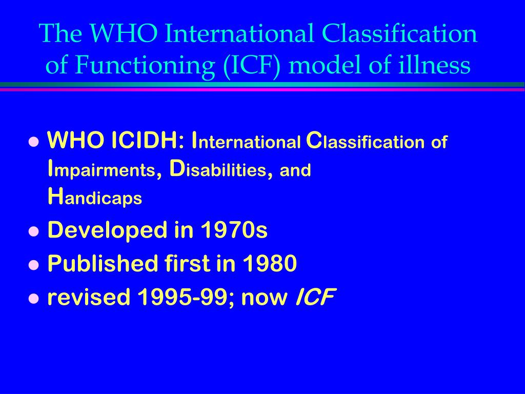The WHO International Classification of Functioning (ICF) model of illness