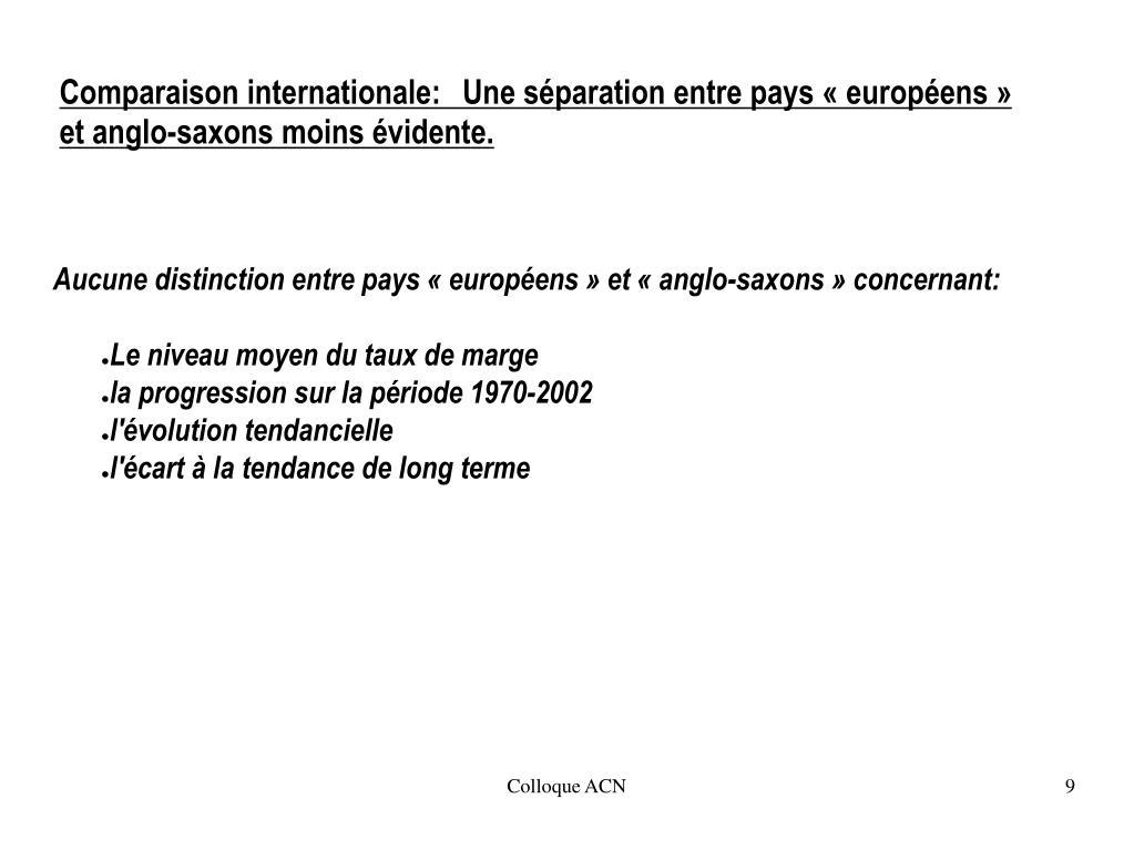 Aucune distinction entre pays «européens» et «anglo-saxons» concernant: