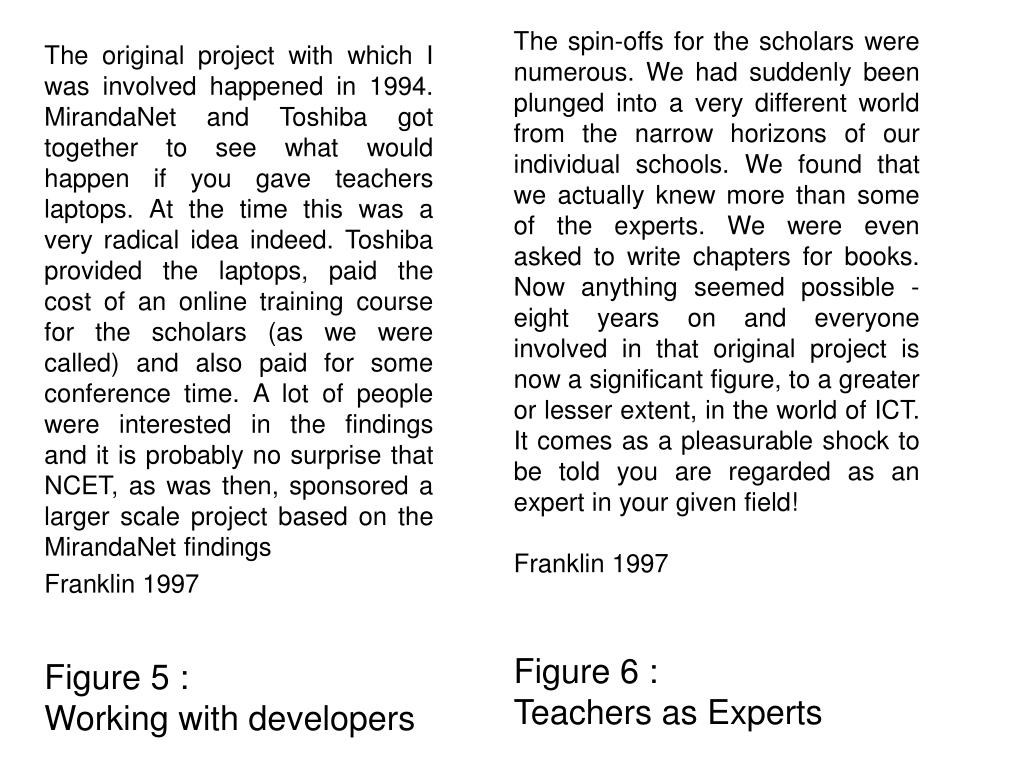 The spin-offs for the scholars were numerous. We had suddenly been plunged into a very different world from the narrow horizons of our individual schools. We found that we actually knew more than some of the experts. We were even asked to write chapters for books. Now anything seemed possible - eight years on and everyone involved in that original project is now a significant figure, to a greater or lesser extent, in the world of ICT. It comes as a pleasurable shock to be told you are regarded as an expert in your given field!